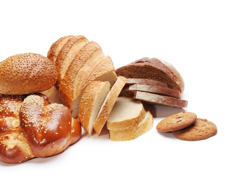 loaves: assortment of baked bread isolated on white  Stock Photo