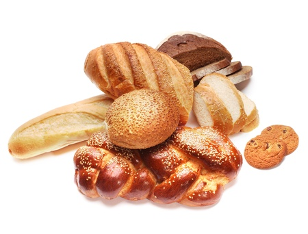 white bread: assortment of baked bread  Stock Photo