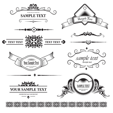 victorian scroll: set of design elements