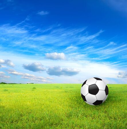 soccer ball and green grass photo