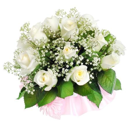 mujer con rosas: Ramo de boda en un fondo blanco