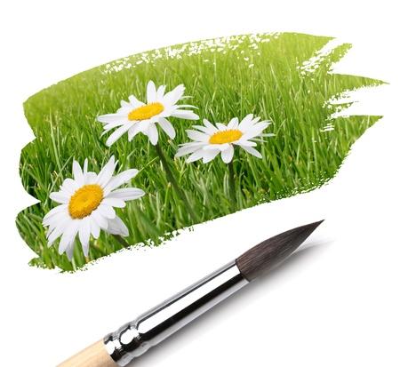 brush and summer flower paint Stock Photo - 9485632