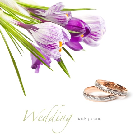 wedding rings and flower photo