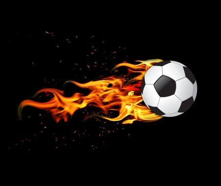 leather ball: bal�n de f�tbol en el fuego Foto de archivo
