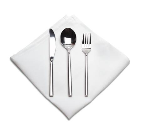 serviette: tenedor, cuchara y cuchillo