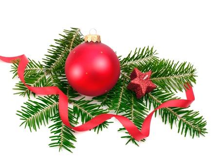spar: Kerstbal en spar tak