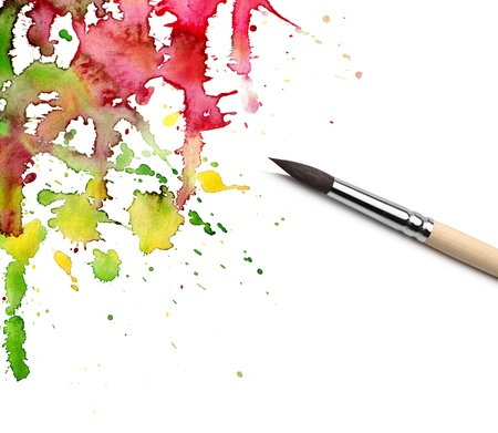brush and abstract painted background photo