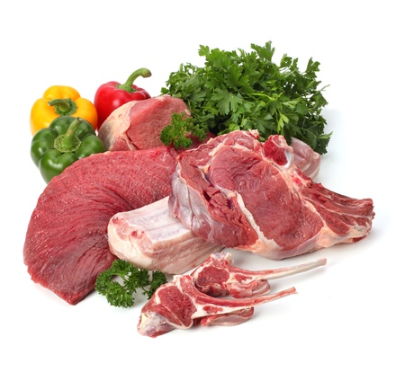 mutton chops: assortiment of raw meat