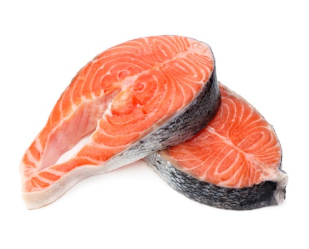 fillet: raw fillet of fresh salmon fish