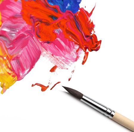 brush and abstract acrylic painted background Stock Photo