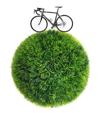bicycle and grass sphere