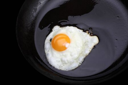 fried eggs on black pan photo