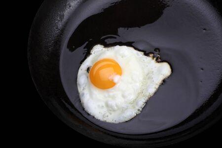 fried eggs on black pan photo