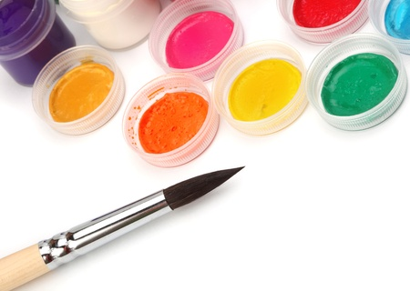 acryle: Paint brush and colors Stock Photo