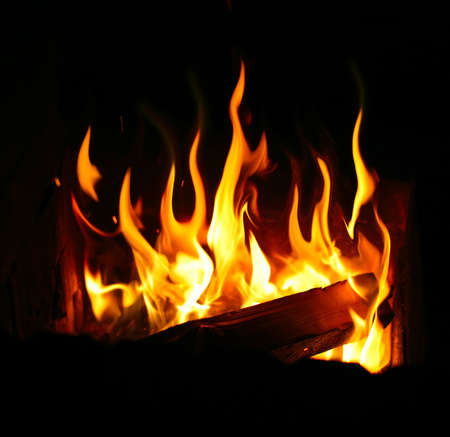 burning log and fire Stock Photo - 12957245