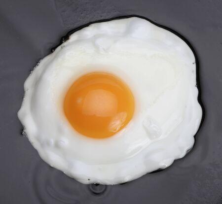 fried eggs on black photo