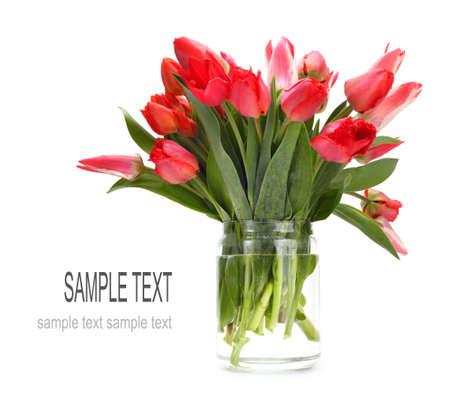 tulips in vase: bouquet of tulip flowers Stock Photo