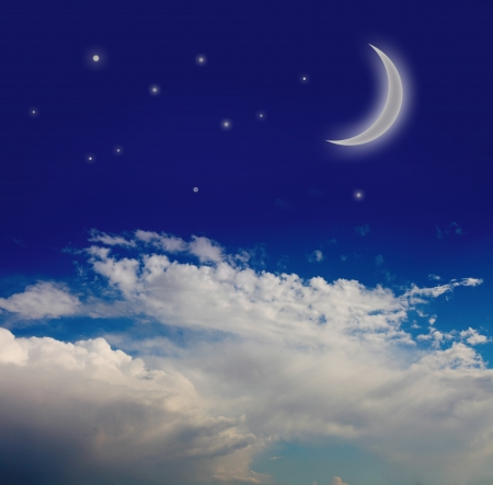 night sky with moon and stars Stock Photo - 14360850