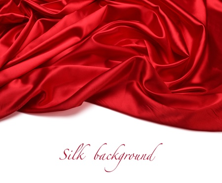 linen fabric: red silk fabric background Stock Photo