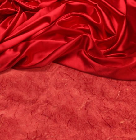 red silk: red silk fabric background Stock Photo