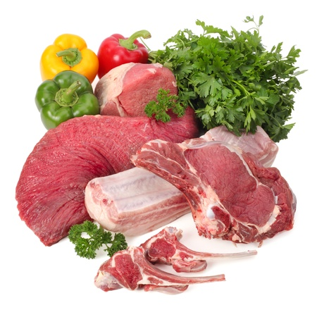 fresh meat: assortment of raw meat with vegetables