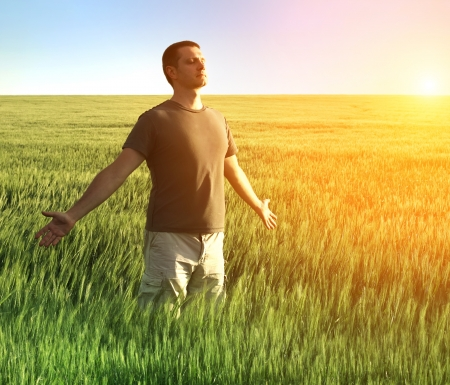 man in wheat field and sunlight photo