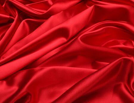 velvet background: red silk fabric background Stock Photo