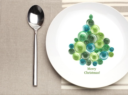 plate with christmas tree photo
