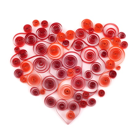 quilling: red heart curling paper