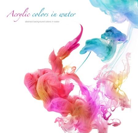 de colores: Colores de acrílico en el agua. Resumen de antecedentes.