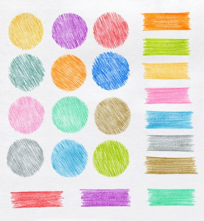 paiting: Set of color pencil design elements Stock Photo