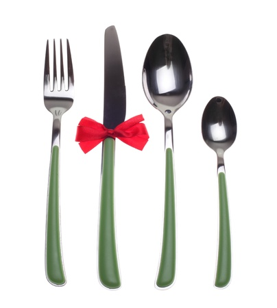 fork, knife and spoons isolated on white Stock Photo - 21920871