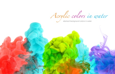 Acrylic colors in water. Abstract background. photo