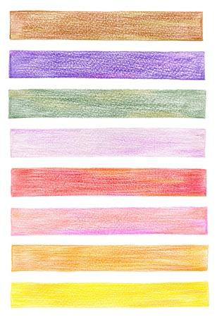 paiting: set of color pencil graphic elements