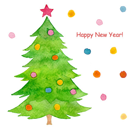 christmas watercolor: Watercolor hand painted Christmas tree Stock Photo