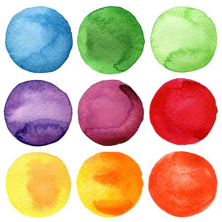 Colección círculos pintados a mano de la acuarela Foto de archivo - 27428823