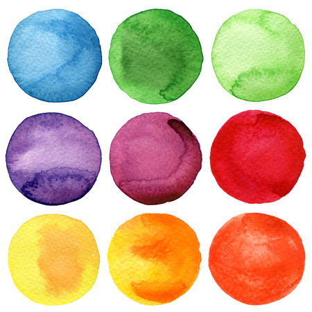 Watercolor hand painted circles collection Reklamní fotografie