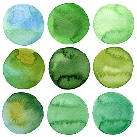 colores pastel: Colecci�n c�rculos pintados a mano de la acuarela