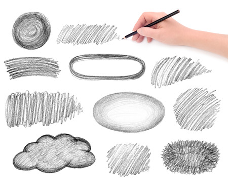 hand and pencil scribbles design elements photo