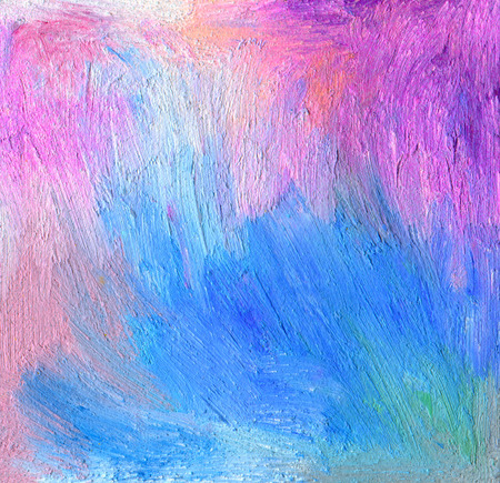Abstract textured acrylic and oil pastel hand painted background. Impressionism style. photo
