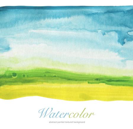 抽象的な水彩画の手描きの風景の背景。織り目加工のペーパー。