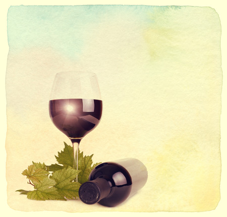 vintage bottle: Wineglass, bottle of wine and grapes leaf. Vintage retro style. Paper textured. Stock Photo