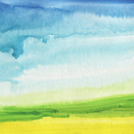 Abstract watercolor hand painted landscape background. Textured paper.