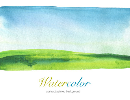 aquarelle painting art: Abstract watercolor hand painted landscape background. Textured paper.