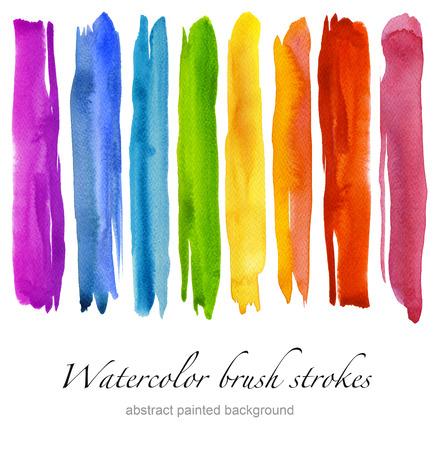 カラフルな水彩ブラシ ストロークのセットです。白で隔離。