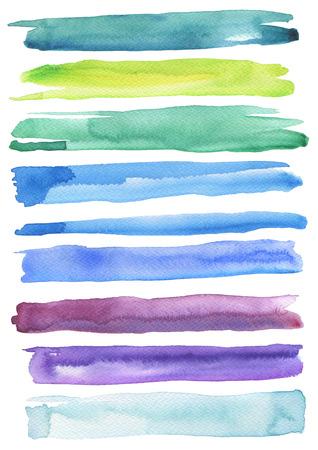 カラフルな水彩ブラシ ストロークのセットです。白で隔離。紙のテクスチャです。