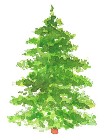 水彩画の手描きのクリスマス ツリー。テクスチャ紙。