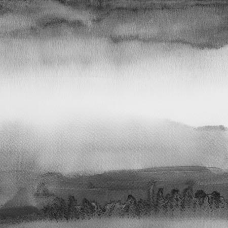 黒と白の要約水彩背景を描いた。紙テクスチャします。