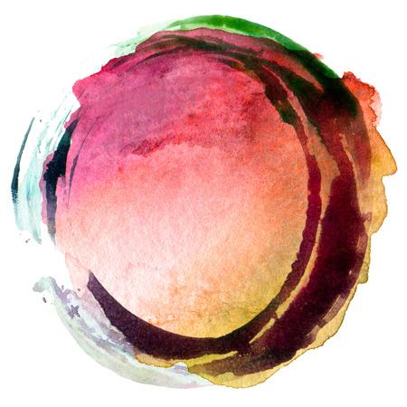 円アクリルと背景を描いた水彩画を抽象化します。