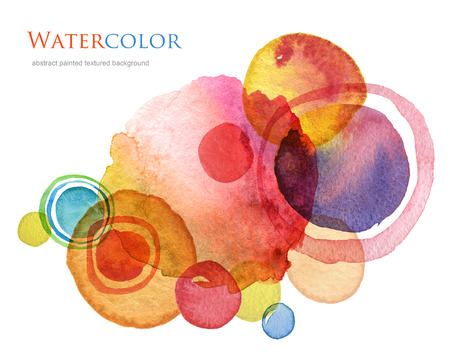 of color: Abstract circle acrylic and watercolor painted background.
